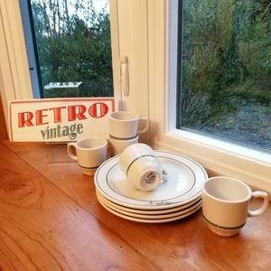 Vintage Dinnerware, Set of 5 cups + 4 plates
